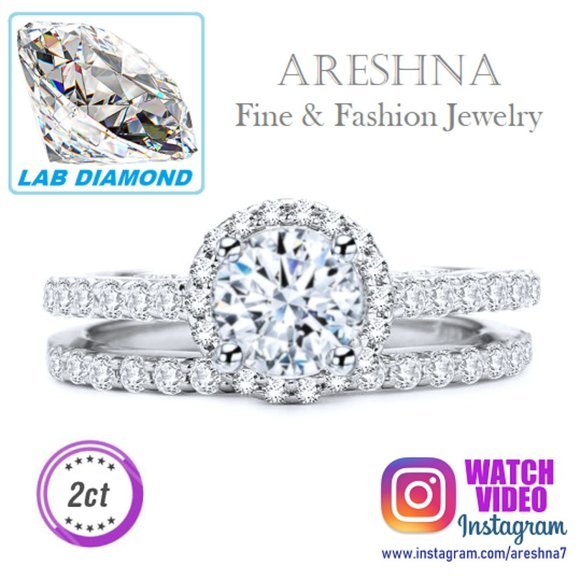 Areshna Jewelry - 2Pcs 2ct Lab Diamond Round ngagement Halo Ring